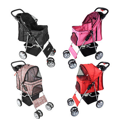 Dog Puppy Cat Pet Travel Stroller Pushchair Pram Jogger Buggy Swivel 4 Wheels