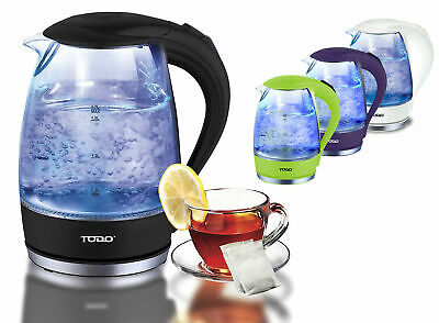 Todo 1.7L Glass Cordless Kettle 2200W Blue Led Light Kitchen Water Jug