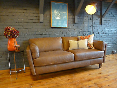 3 str Leather Piper Sofa danish retro 60s, contemporary mid-century modern style