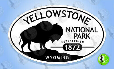YELLOWSTONE NATIONAL PARK Wyoming BUFFALO Oval Bumper Sticker Travel Decal