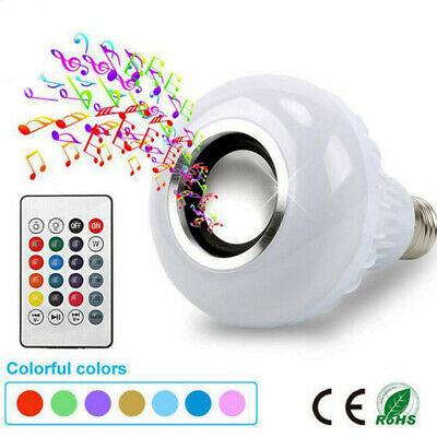 LED Wireless Bluetooth Music Play Bulb Lamp Light Stereo Speaker Remote Control