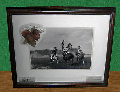 Edward Curtis Hand Painted Comrades Photo J.H. Boone Buffalo Sculpture Neil Rose
