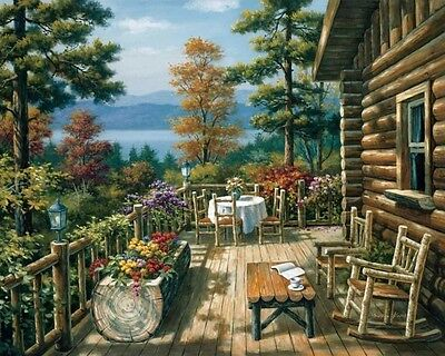 Paint By Number Kit On Canvas Wooden Villa In Mountain DIY Painting PZ7058