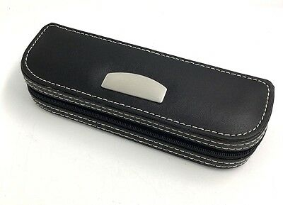 Black Faux Leather Pen Case Pencil Case Holder With Zip