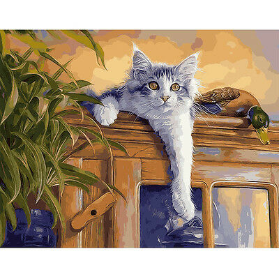 Paint By Number Kit On Canvas Naughty Cat and Duck DIY Painting PZ7069