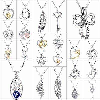Fashion Zircon Pendants Heart Charms Jewelry Fit Women 925 Silver Necklace Chain