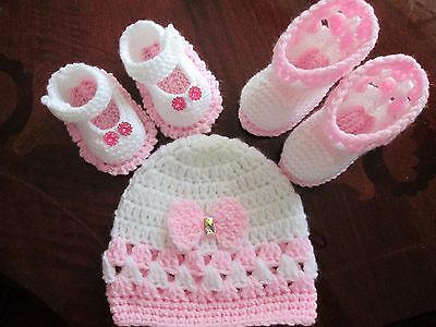 baby girls hand knitted/crochet hat/booties in pink/white and shoes 0-3 months