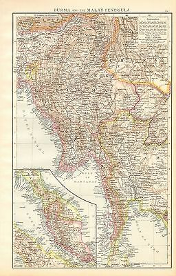 1895 Large Antique Map-Burma (Myanmar) And The Malay Peninsula