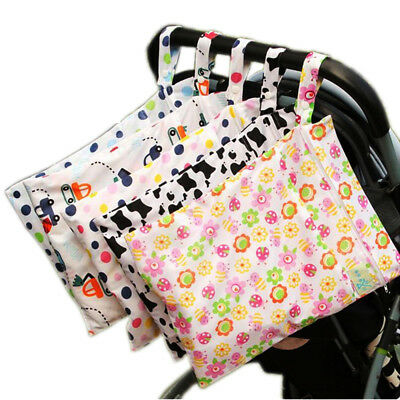 New Reusable Baby Cloth Diaper Nappy Wet Dry Bag Tote Handle Waterproof Zipper Q