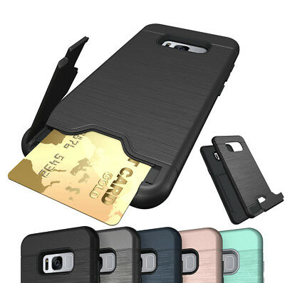 Shockproof Card Holder Hard Back Case Cover For Samsung Galaxy S7 S8