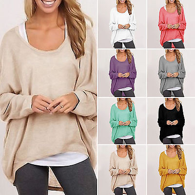 Plus Size Women Batwing Sleeve Sweater Casual Baggy Pullover Jumper Blouse Top