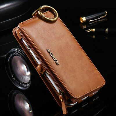 Luxury Genuine Leather Flip Zipper Wallet Phone Case Cover for iPhone X 7 8 Plus