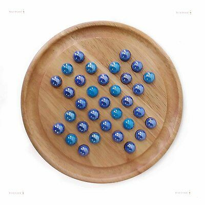 Two Tone Blue Natural Wood Wooden Traditional Solitaire Marble Game 23cm
