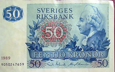 Sweden Two Different Bank Notes <10 Kronor 50 Kronor>Beautiful Color>Extra Fine