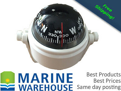 White Jaunt Marine Compass - 55mm W/ 360 Degree Viewing - Boat Truck  308372w