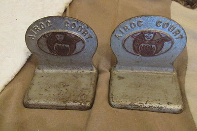 Pair of Very Old Masonic Cast Iron Bookends Embossed Airoc Court