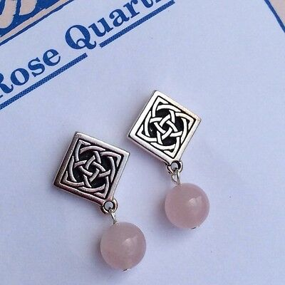Rose Quartz gemstone Celtic stud earrings. Irish jewellery. Made in Ireland
