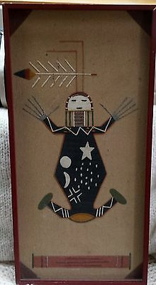 """VINTAGE INDIAN NAVAJO """"Father Sky"""" SAND PAINTING by WALLACE WATCHMAN"""