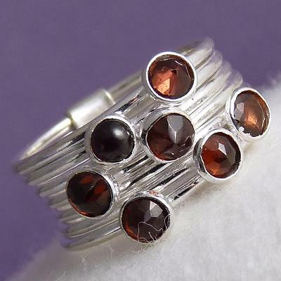 7 Rings STACK Size US 7 SILVERSARI with Gems Solid 925 Sterling Silver + GARNET