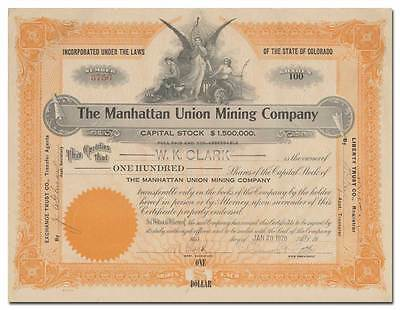 Manhattan Union Mining Company Stock Certificate (Colorado)