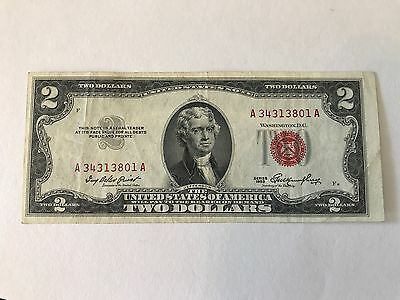 Series 1953 $2 Red Seal United States Note, OFF CENTER