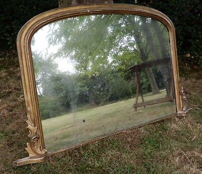 Large Victorian Giltwood Frame Overmantle Mirror Wall hanging