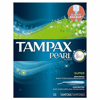 Tampax Pearl Plastic Super Absorbency, Unscented Tampons - 18 Count (Pack Of 4)