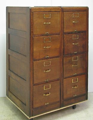 Library Bureau Sole Makers Set of 2 Attached File Cabinets - Complete - OAK