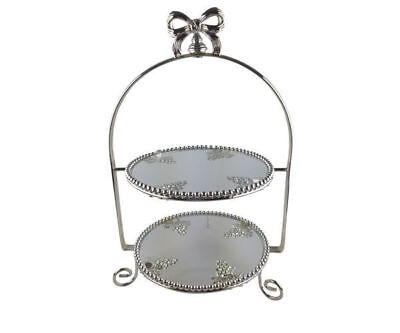 Wedding & Event Decoration - Cake Stand Metal 2 Tier High Tea Cake Stand - Glass