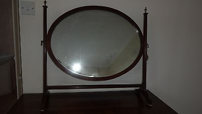 Antique oval swing frame dressing table mirror, possibly Victorian