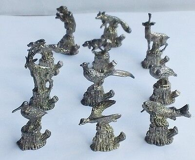 Vintage Quality Italian Set Of 11 Figural Animals Place Card Holders