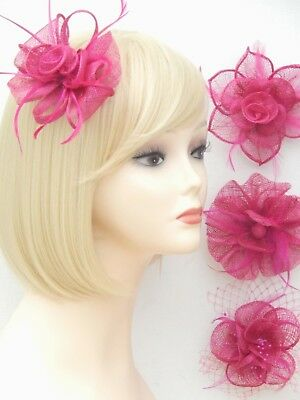 Fuchsia Pink Fascinator Brooch Clip Hair Feather Flower Wedding Ladies Day Races