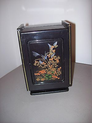 Vintage Black Hidden Jewelry Box with Mirror and 4 drawers made in Hong Kong