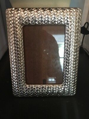 925 sterling ornate basket woven photo frame 5X7 photo signed ar 1083