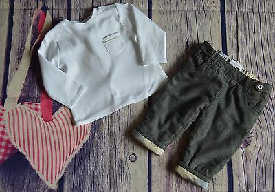 Burberry Baby Boys Designer Clothes Bundle Long Sleeved T-shirt Grey Pants 6 Mts