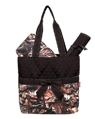 Camo Leaf Brown Quilted DIAPER OR TOTE BAG W/ CUSTOM MONOGRAM-NEW WITH TAG