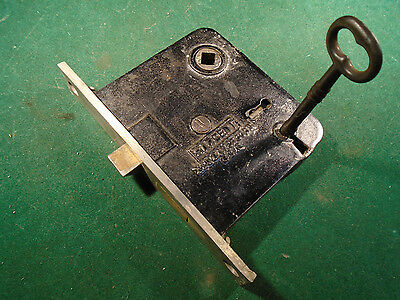 VINTAGE SARGENT MORTISE LOCK NICKEL FACEPLATE  w/KEY, RECONDITIONED (9012)