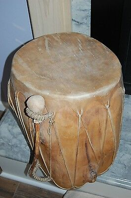 Native American Taos NM Hand Made Rawhide Wooden Drum