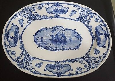 1862-1904 Cauldon England Serving Platter Delftland  No. 280075 Depose No. 8673