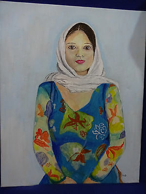 Beautiful Painting Of A Latina Lady In Pose