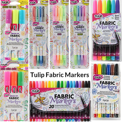 Tulip Fabric Markers Permanent Clothes Shoes T-Shirts 3 4 6 12 20 Pack Art Craft