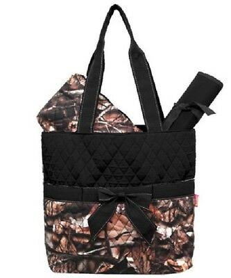 Camo Leaf Black Quilted DIAPER OR TOTE BAG W/ CUSTOM MONOGRAM-NEW WITH TAG
