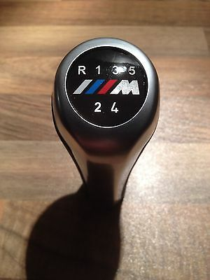BMW M Sport M Power 5 Speed Gear Knob Stick Fits all Manual Cars Leather Chrome
