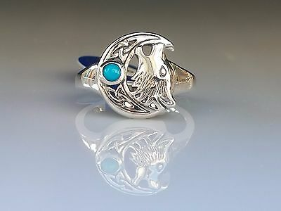 Gem Celtic Howling wolf Moon Sterling Silver Ring by peter stone  Fine Jewelry