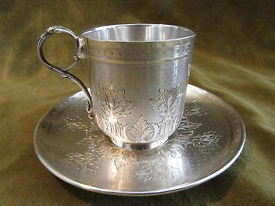 Gorgeous 1870 french sterling guilloche gilded silver coffee cup Louis XVI st