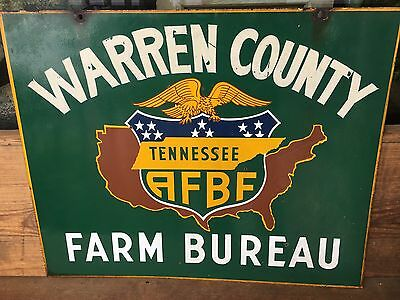 Porcelain Tennessee Farm Bureau Sign Double Sided Metal Old  Vintage Antique TN