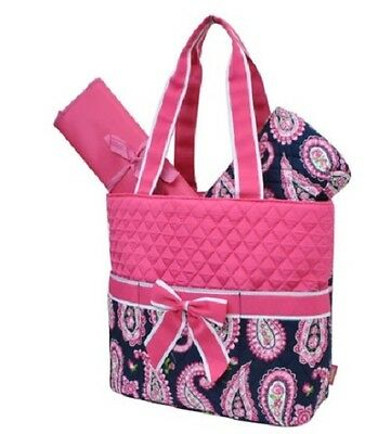 Hot Pink Paisley -  Navy Quilted DIAPER/TOTE BAG W/ CUSTOM MONOGRAM-NEW WITH TAG