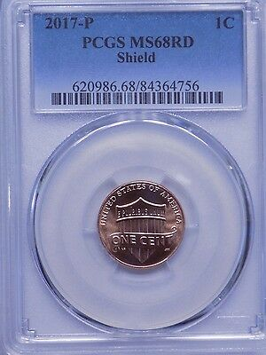 2017-P Lincoln Shield Cent, PCGS MS68 RED, REGISTRY!! TOP POP 20/0, VERY NICE!!