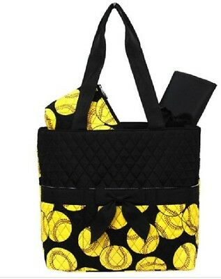Softball Quilted  Black DIAPER / TOTE BAG W/ CUSTOM MONOGRAM-NEW WITH TAG