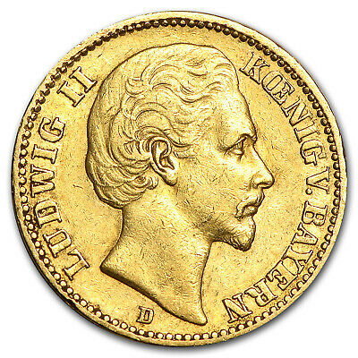 1872-1878 Germany Gold 20 Mark Bavaria Ludwig II Avg Circ - SKU#89520